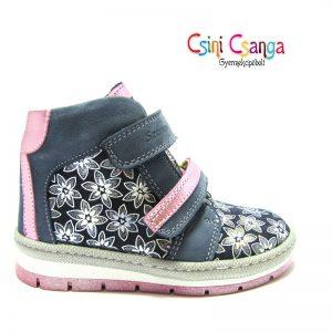 Pink-szürke virág mintás Szamos cipő